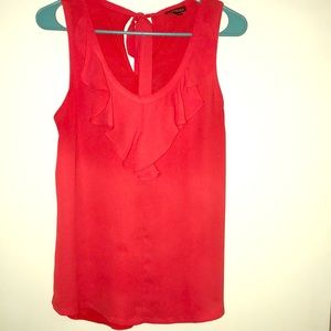 Express orange tank with front ruffles